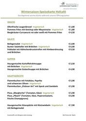 Speisekarte Hofcafé
